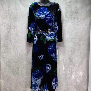 Calvin Klein Plus Size Floral Print Velvet A Line